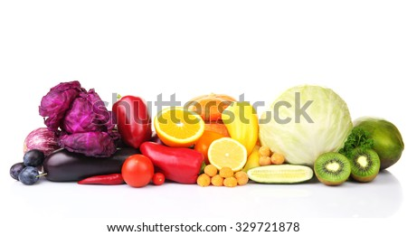 Fruits and vegetables isolated on white #329721878