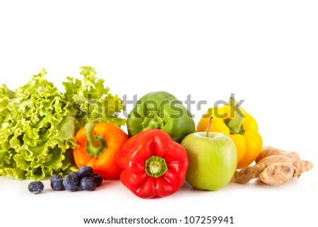 Fruits and vegetables isolated over a white background