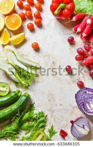 Fruits and vegetables isolated white background. Healthy diet - Shutterstock ID 633686105