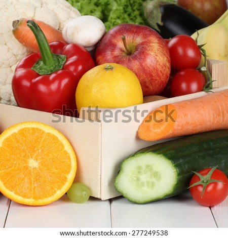 Fruits and vegetables like oranges, apple, tomatoes, banana in box