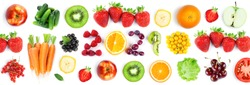 Fruits and vegetables. New year 2021 made of fruits and vegetables on the white background. Healthy food. Texture