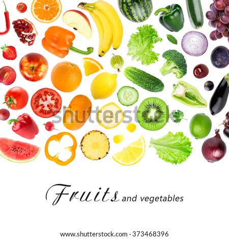 Fruits and vegetables on white background. Fresh food