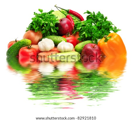 fruits and vegetables reflected in water