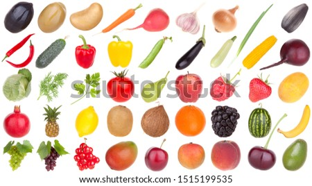 Fruits and vegetables set isolated on white background #1515199535