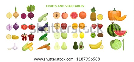 Fruits and vegetables set on white background. #1187956588