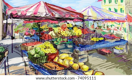 Fruits and vegetables street shopping.Illustration