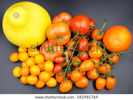 Fruits and vegetables: tomato, orange and so on