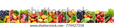 Fruits and vegetables useful for health isolated on white background. - Shutterstock ID 774427318