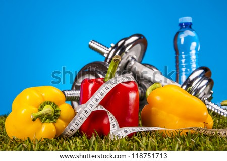 Fruits and vegetables with blue background