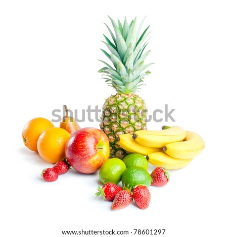 Fruits. Arrangement of various fresh ripe fruits: pineapple, bananas, oranges, pear, apple, limes and strawberries  isolated on white background