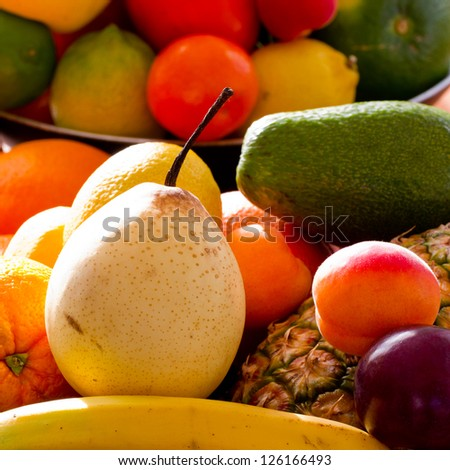 Fruits - assortment of fresh fruits, weight loss concept