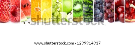 Fruits. Collage of fresh color fruit #1299914917