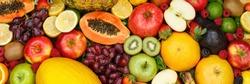 Fruits collection food background banner apples oranges lemons fresh fruit backgrounds