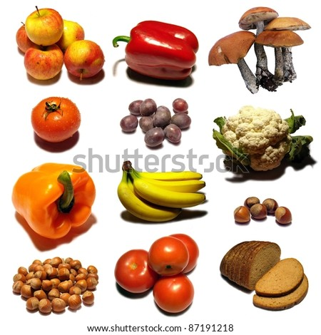 Fruits collection mosaic on white background