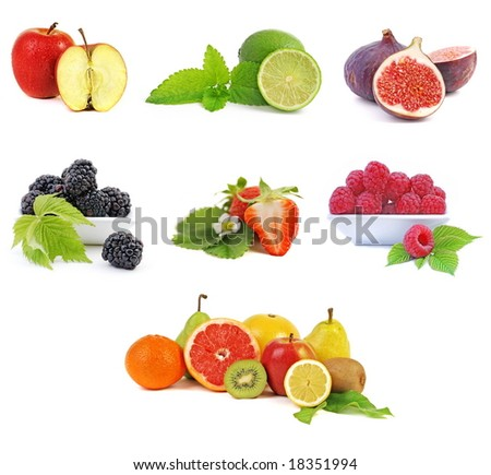 fruits collection on white background