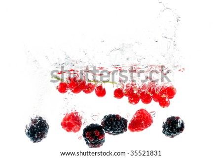 fruits falling in the water