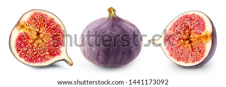 Fruits figs on white background. Figs half. Professional food photography #1441173092