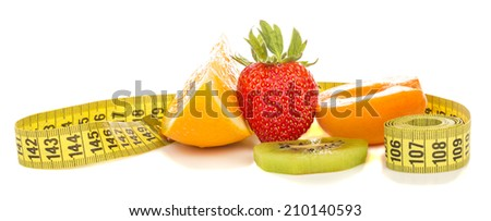 fruits for weight loss and measuring tape