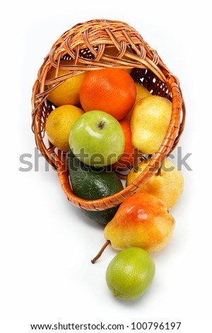 fruits in basket isolated on a white background.