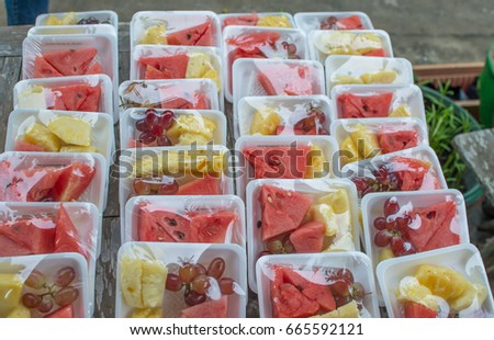 Fruits in plastic packages ready for morning and afternoon break #665592121