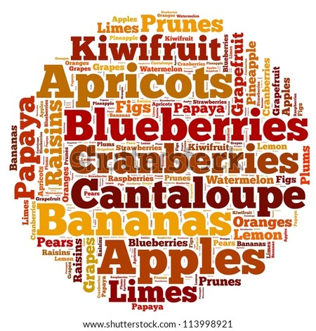 Fruits info-text graphics and arrangement concept on white background (word cloud)