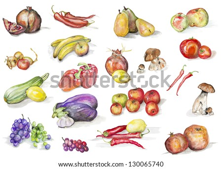 Fruits, mushrooms  and vegetables isolated set-  handmade watercolor painting illustration on a white paper art background