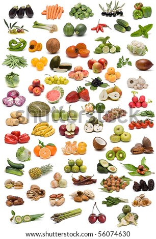 Fruits, nuts, vegetables and spices  isolated on a white background.