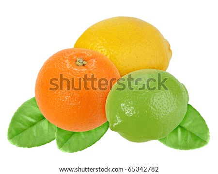 Fruits of orange, lemon and lime with green leaf. Isolated on white background. Close-up. Studio photography.