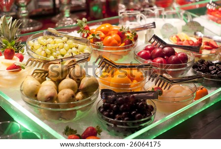 Fruits on restaurant display, shallow focus