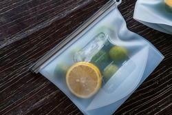 Fruits packed in environmentally safe silicone ziplock bags. Reusable eco-friendly kitchen products. Zero waste sustainable plastic free lifestyle
