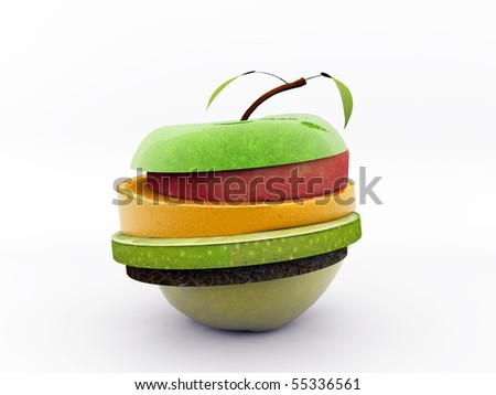 fruits sliced isolated on white background