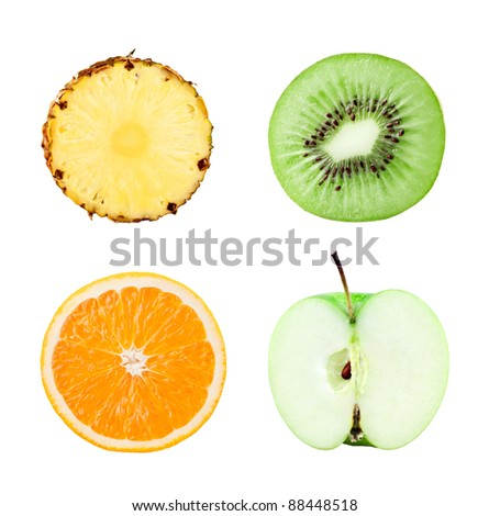 Fruits slices on white background