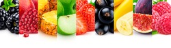 Fruits texture, isolated on white background with copy space, border of fresh and healthy fruits, close-up, panoramic photo