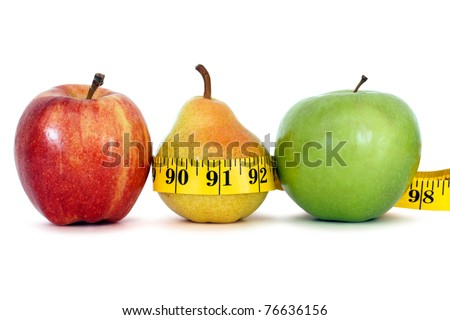 fruits with measure tape over white background, clipping path