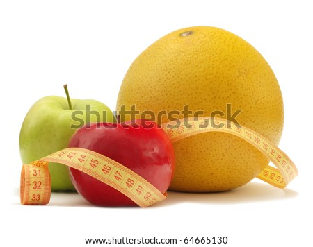 Fruits with measuring instrument on a white background