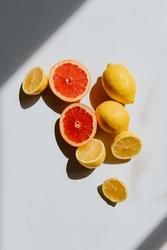 Fruity lemon and grapefruit styled flat layout