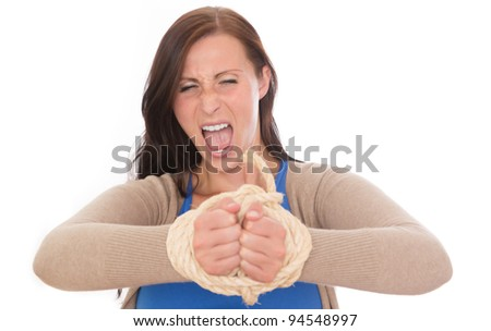 frustrated bounded woman