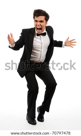 Frustrated business man with wide open mouth and gesticulating with hands