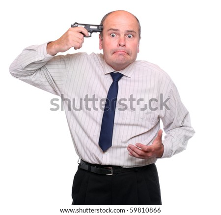 Frustrated businessman on white background.