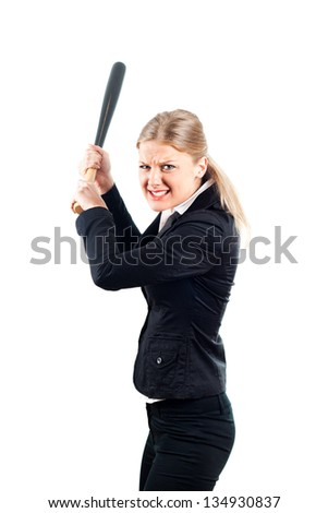 Frustrated businesswoman holding baseball bat,Angry businesswoman