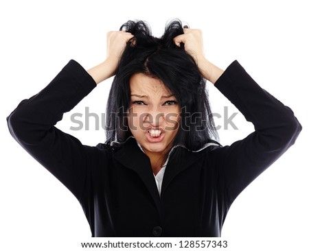 Frustrated businesswoman in closeup pose isolated on white background - stock photo