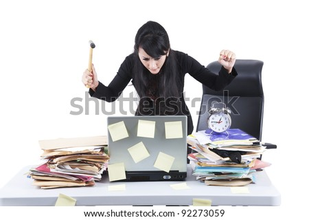Frustrated businesswoman with her jobs