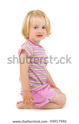 frustrated child on white background