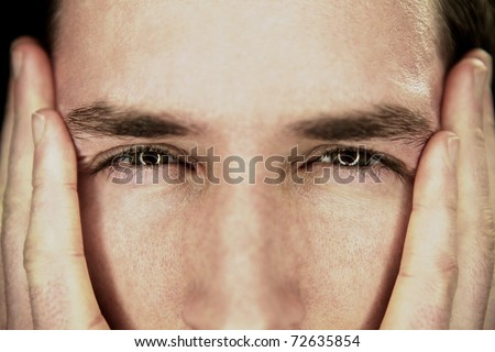 Frustrated man and ashamed with hands on face - stock photo