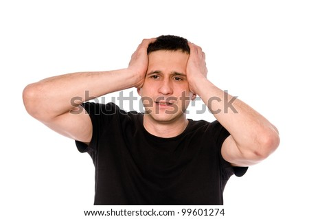 frustrated man put his hands on his head isolated on white background