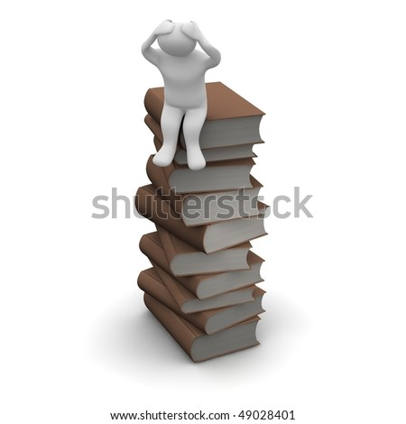 Frustrated man sitting on high stack of brown hardcover books. 3d rendered illustration.