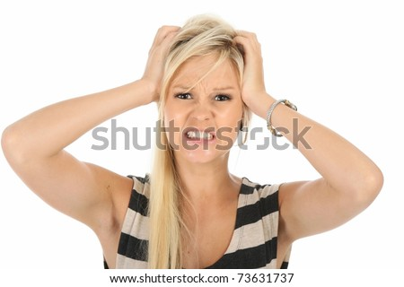 Frustrated pretty blonde woman with hands on her head