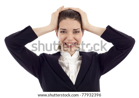 Frustrated pretty woman with hands on her head isolated over white background