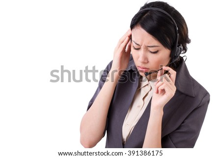 frustrated, upset business woman suffers from headache #391386175