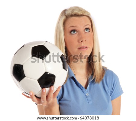 Frustrated woman holding soccer ball. All on white background.